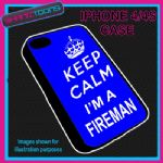 FITS IPHONE 4 / 4S PHONE KEEP CALM IM A  FIREMAN PLASTIC COVER BLUE